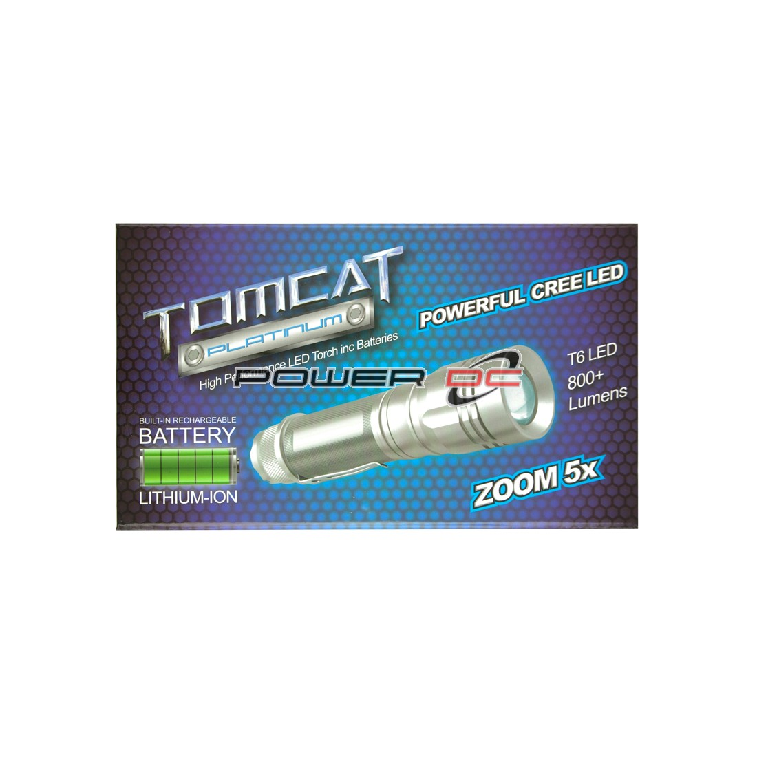 TOMCAT PLATINUM RECHARGEABLE CREE TORCH INC. 18650 BATTERY