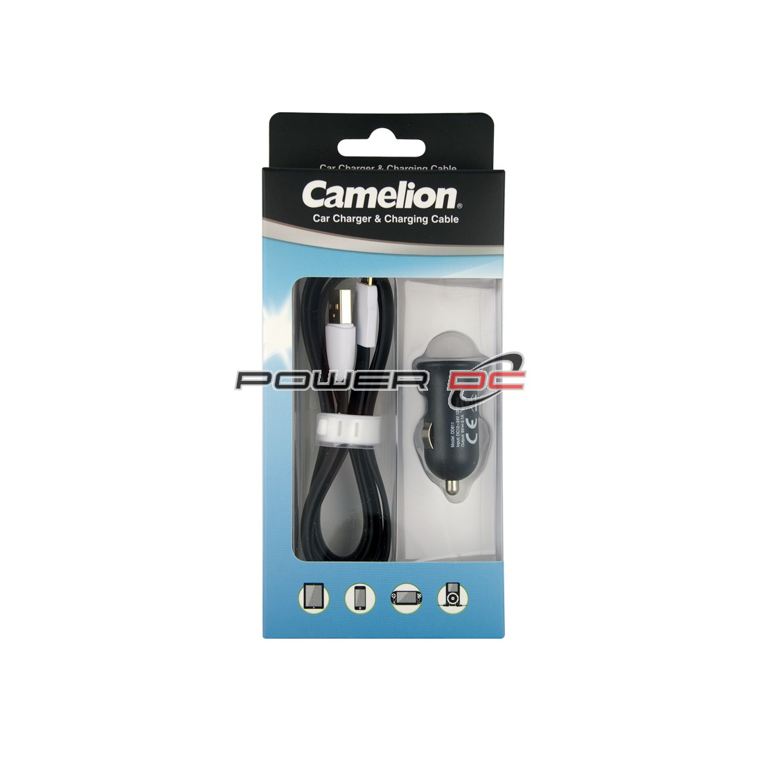 CAMELION USB MINI CAR CHARGER 2,100 MAH + MICRO USB CABLE